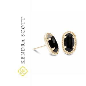 NEW Kendra Scott Emery gold stud earrings in black